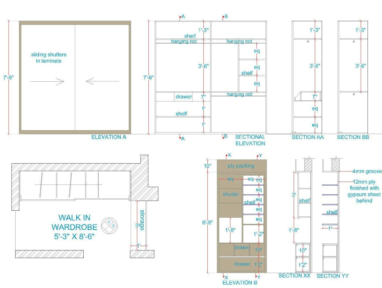 Wardrobe Plan Elevation Section : Interior designing portfolio