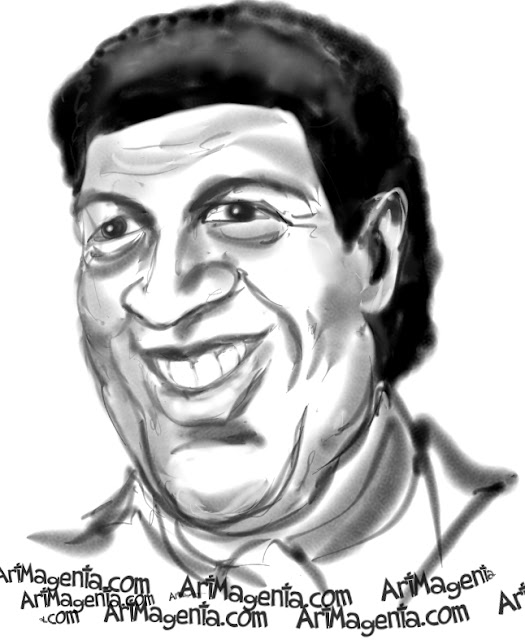 Chubby Checker caricature cartoon. Portrait drawing by caricaturist Artmagenta.