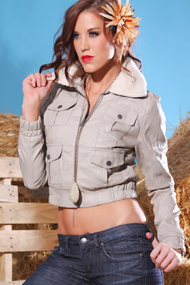 KHAKI FAUX LEATHER SHEARLING POCKET ZIPPER SMOCKED JACKET