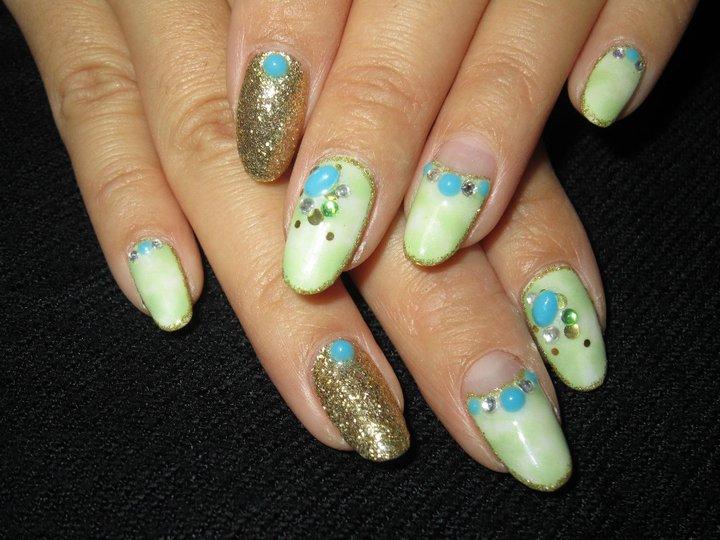Cute Nail Designs Light Green Tie Dye Nails