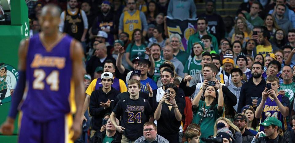 Los Angeles star Kobe Bryant, playing in his final game in Boston, was the focus of Celtics fans and Lakers fan alike during the game