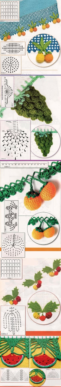 Croche Madona-mía puntos y graficos: Puntillas para paños de cocina ...