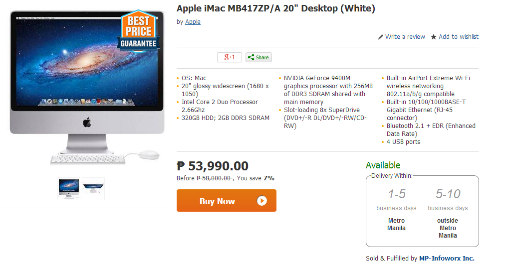 """Apple iMac MB417ZP/A 20"""" Desktop (White)"""