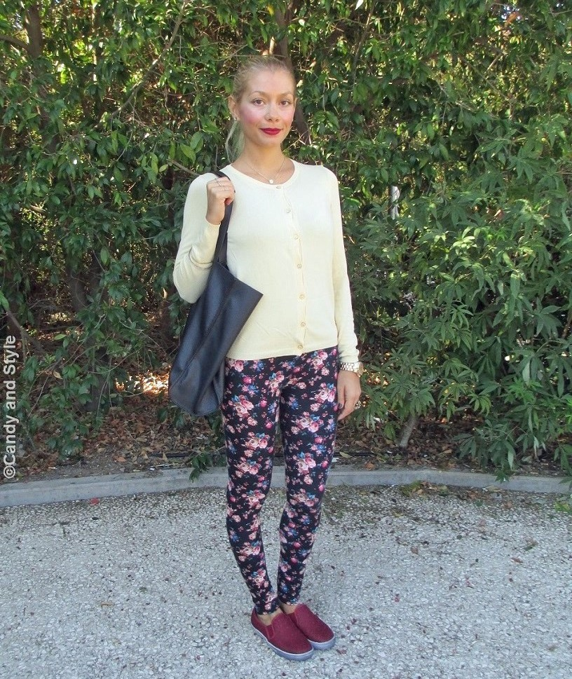 Cardigan, DarkFloralLeggings, ShopperBag, Slip-onSneakers, HighPonytail - Lilli Candy and Style Fashion Blog