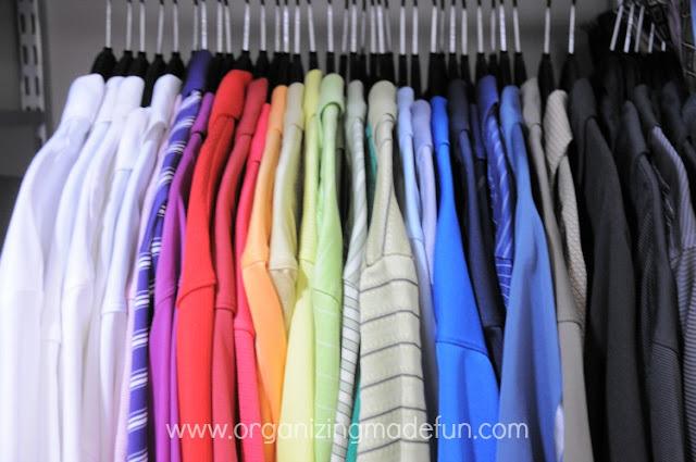 shirts rainbow organize hangers