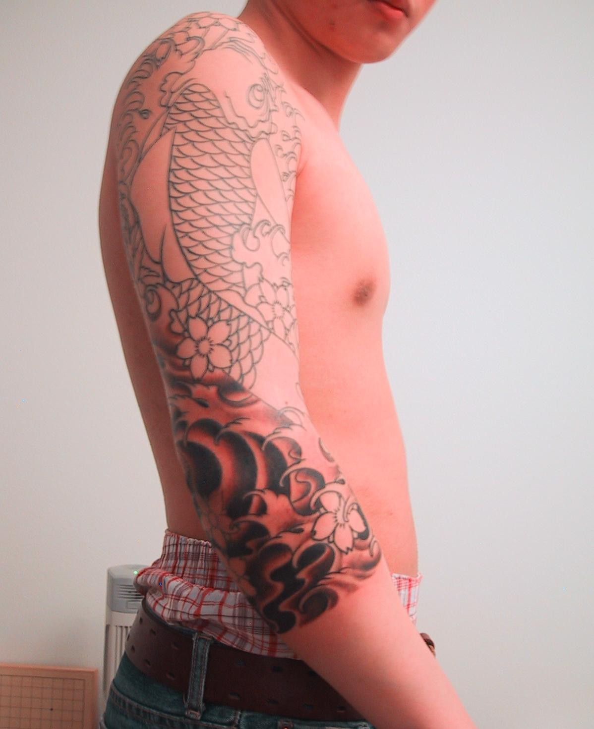 Male asian hairstyles short hair for Dragon arm tattoos for men