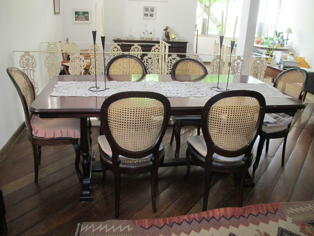 Mesa de Jantar 06 cadeiras com palhinha. #7D694E 1200x900