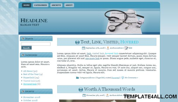 Free Wordpress Health Blue Theme Template