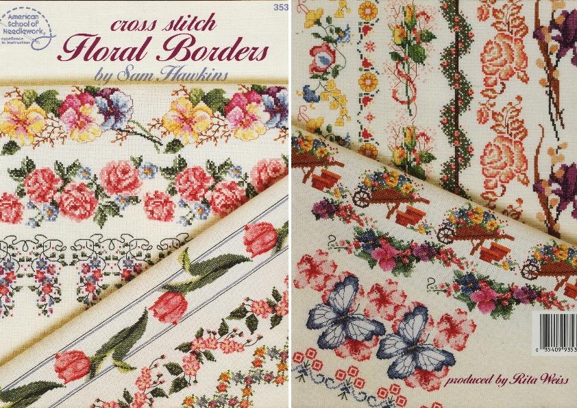 Вышивка цветочный бордюр схема