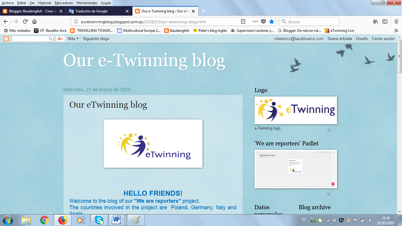 eTwinning blog 'We are reporters'