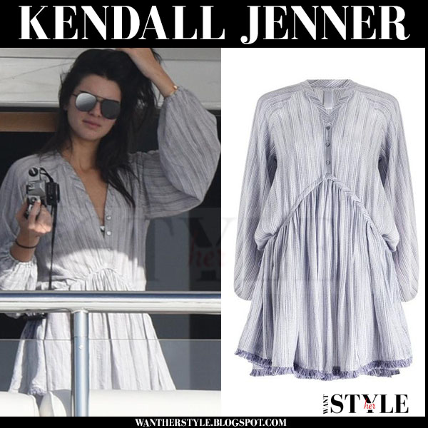 Kendall Jenner in lilac mini drawstring zimmermann henna dress on a yacht what she wore