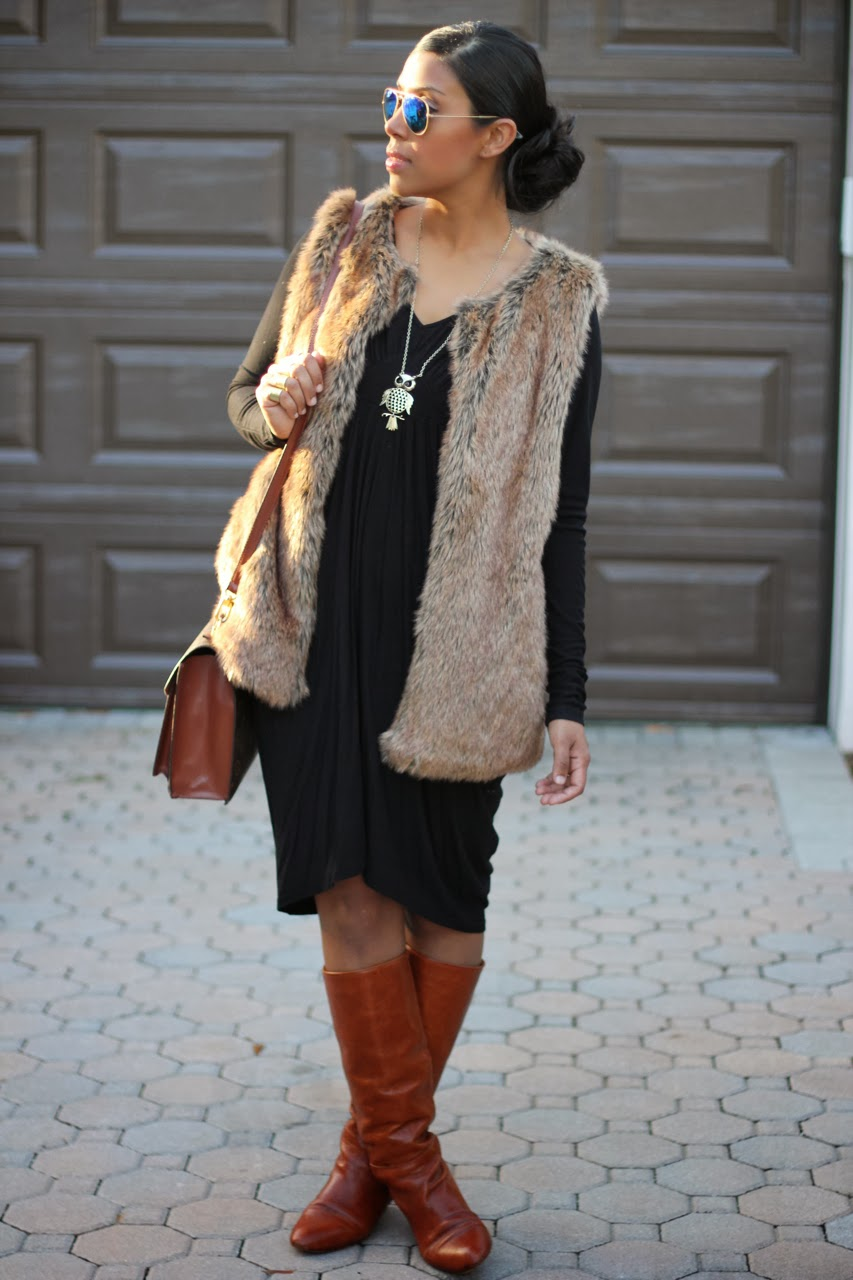 faux fur vest tan leather boots ray ban blue mirror sunglasses owl necklace zara loeffler randall matilde
