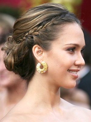 Jessica Alba Braided Updo Hair style
