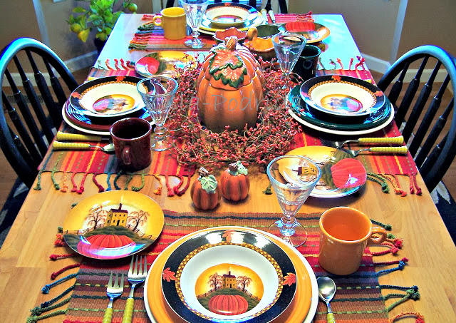 A Thanksgiving table need not be fancy or make use of your best china. This table makes use of my every day Fiestaware along with a special autumn pattern ... & Olla-Podrida: Setting Your Thanksgiving Table