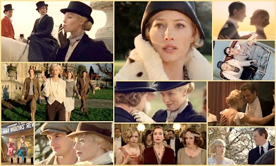 movie collage of easy virtue, an english period comedy drama with fantastic period costume and amazing cast including colin firth and jessica biel. by Noel Coward.
