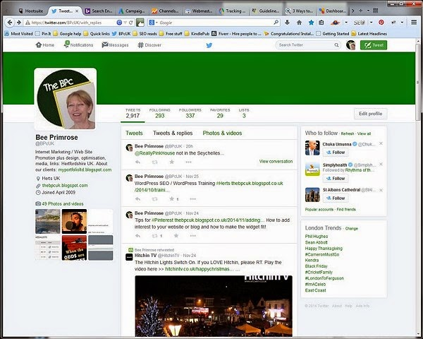 Twitter shown in Firefox browser