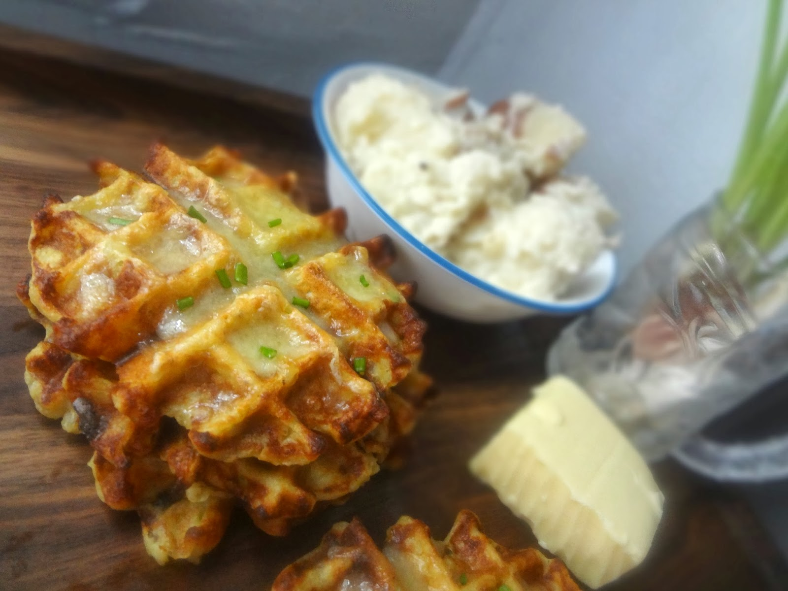 The Cooking Actress: Mashed Potato, Cheddar, and Scallion Waffles