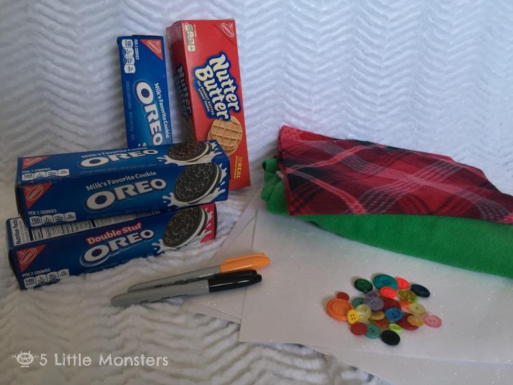 supplies for cookie box snowmen
