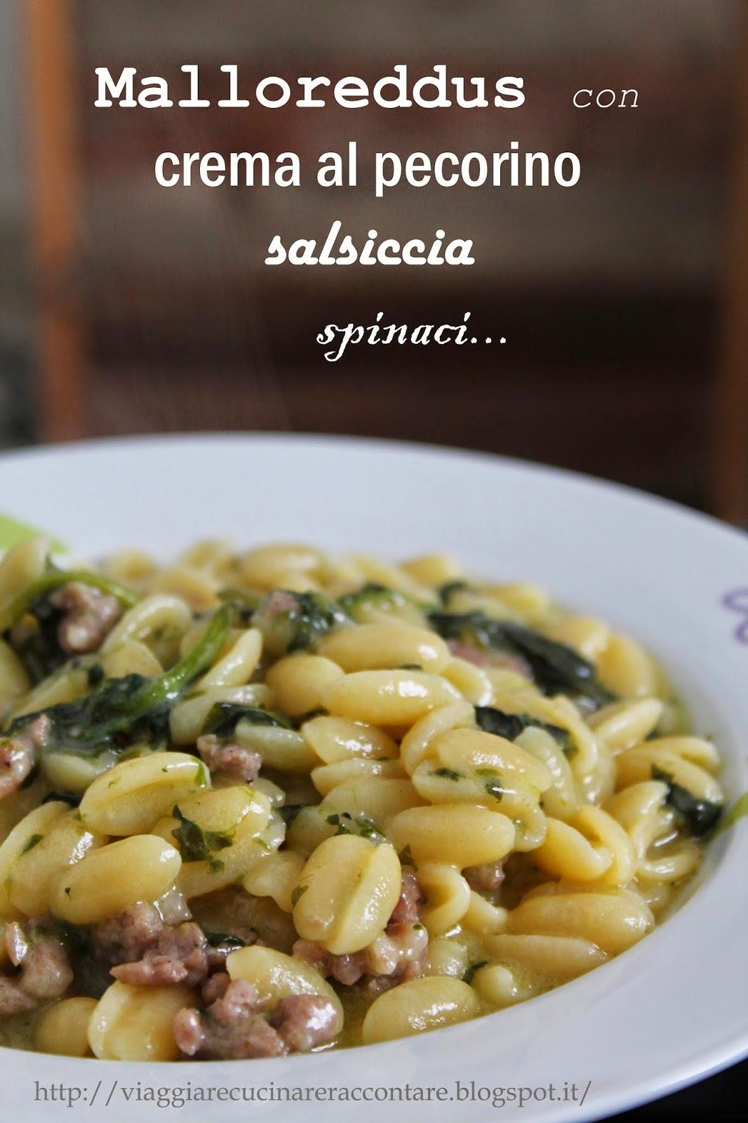 malloreddus con salsiccia, spinaci e crema di pecorino