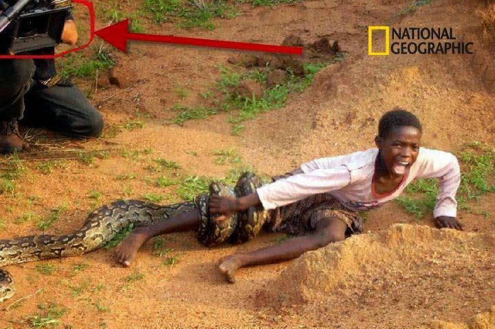 Foto de criança sendo devorada por uma cobra na Africa