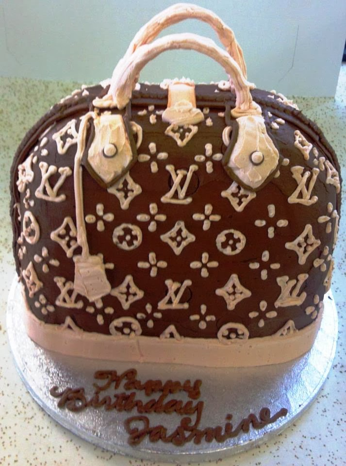 brown louis vuitton purse birthday cake