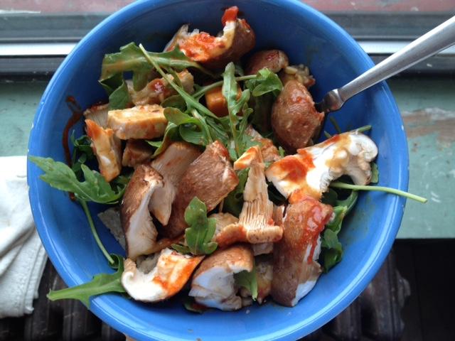 ... sweet potato, shiitake mushrooms, sriracha, and ginger-miso dressing