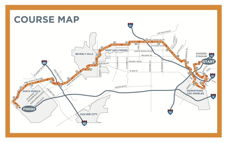 Los Angeles Marathon Elevation Map - Nyc marathon course map pdf