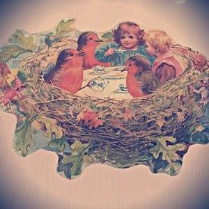 Nest Tea Party vintage graphic via The Graphics Fairy