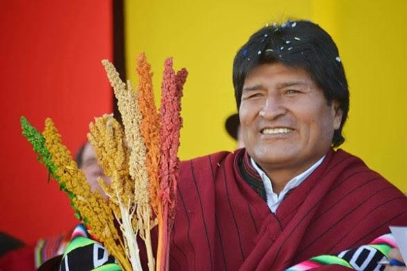 El presidente Evo Morales durante el cierre del Año Internacional de la Quinua.