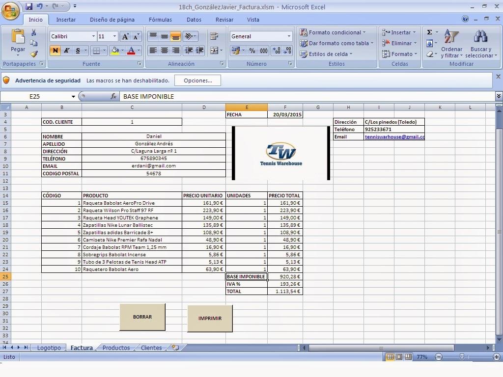 Tic Informatica 1Bch Factura excel