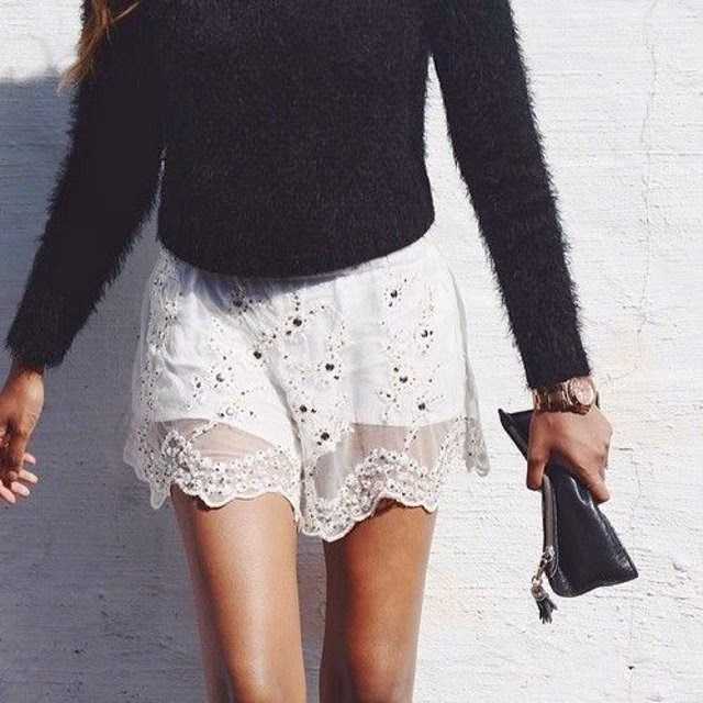black fluffy knit sweater_white lace shorts_spring_style_inspiration_black and white outfit