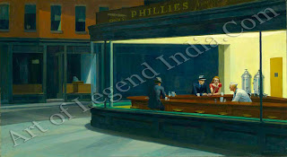 Hopper's most famous painting was 'suggested by a restraint t on Greenwich Avenue where two streets meet'. Although he hated discussing his work, Hopper was a little more forthcoming than usual about this picture: Nighthawks seems to be the way I think of a night street. I didn't see it as particularly lonely. I simplified the scene a great deal and made the restaurant bigger. Unconsciously, perhaps, I was painting the loneliness of a large city.'