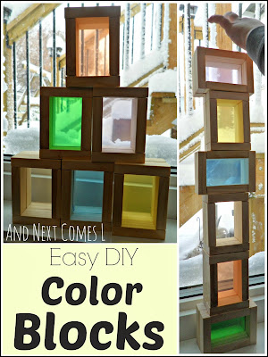 DIY Color blocks for light play made from a dollar store wooden block game from And Next Comes L