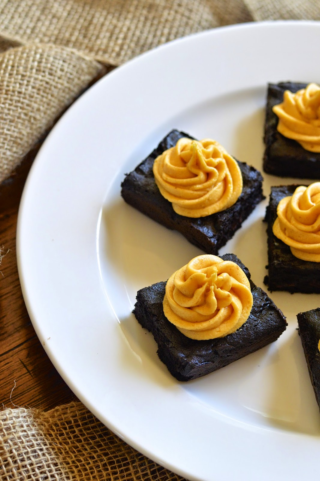 Gluten Free Dark Chocolate Brownies with Creamy Pumpkin Frosting