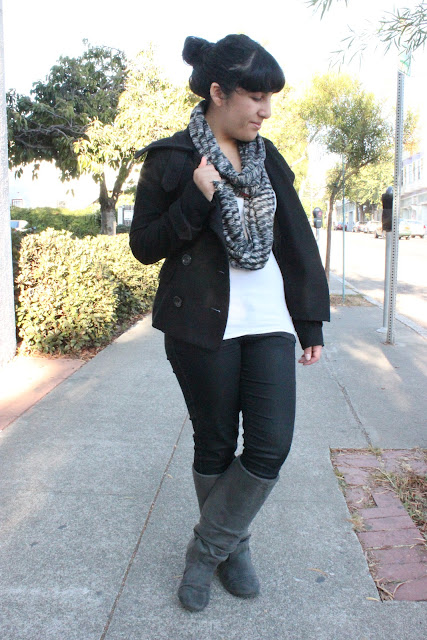 Peacoat and Boots Winter Outfit