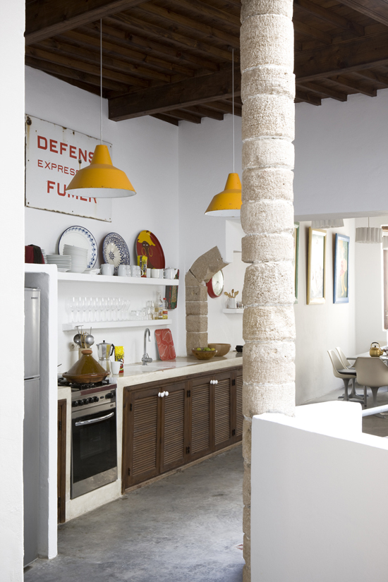 Exquisite ethnic industrial kitchen. Photo via Air Space Locations.