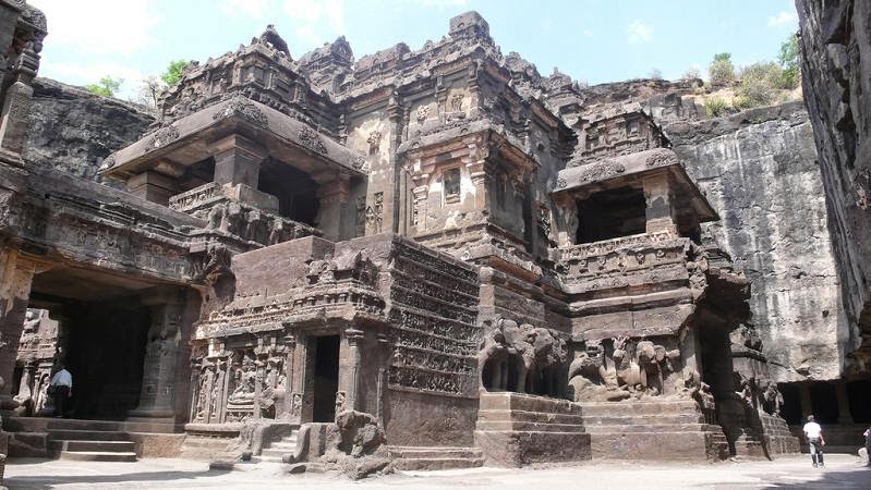 Rock cut kailash temple at ellora caves in Maharashtra
