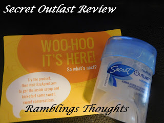 Ramblings Thoughts, Review, Secret Outlast, Deodorant, Antiperspirant, Buzz Agent