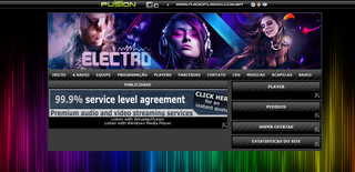 Pre-visualização do template Electro para web rádio.