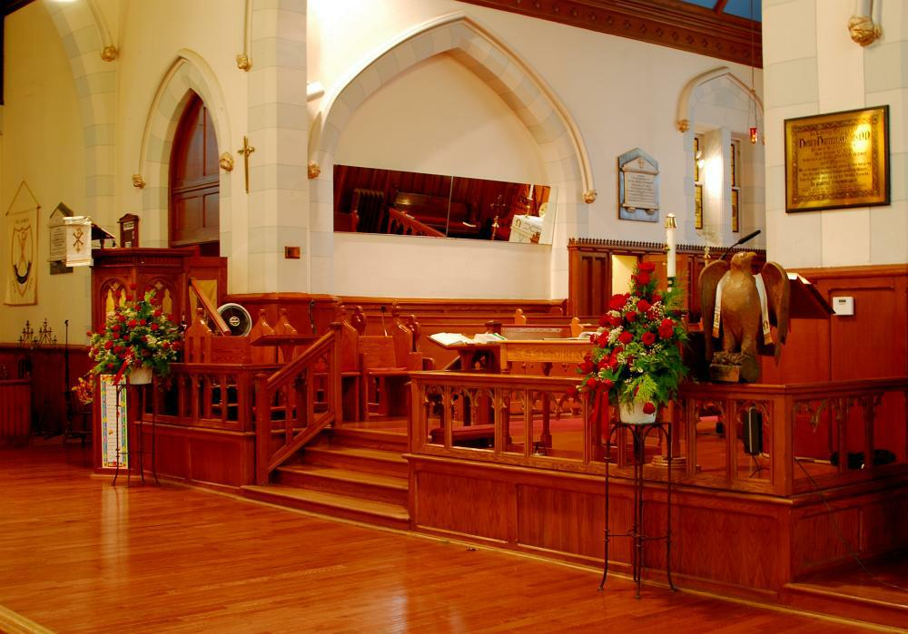 The interior of the chapel at St. James' Anglican Church.