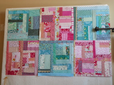 Slab style quilt blocks in Turquoise and Pink