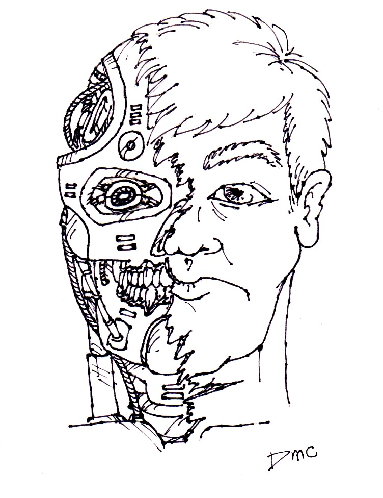 Cyborg Face Drawing A Robot Woman Head Isolated On PictureRobot Face Drawing