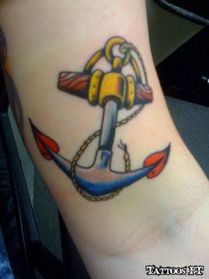 How to Tattoo Ancora azul e amarelo no braço
