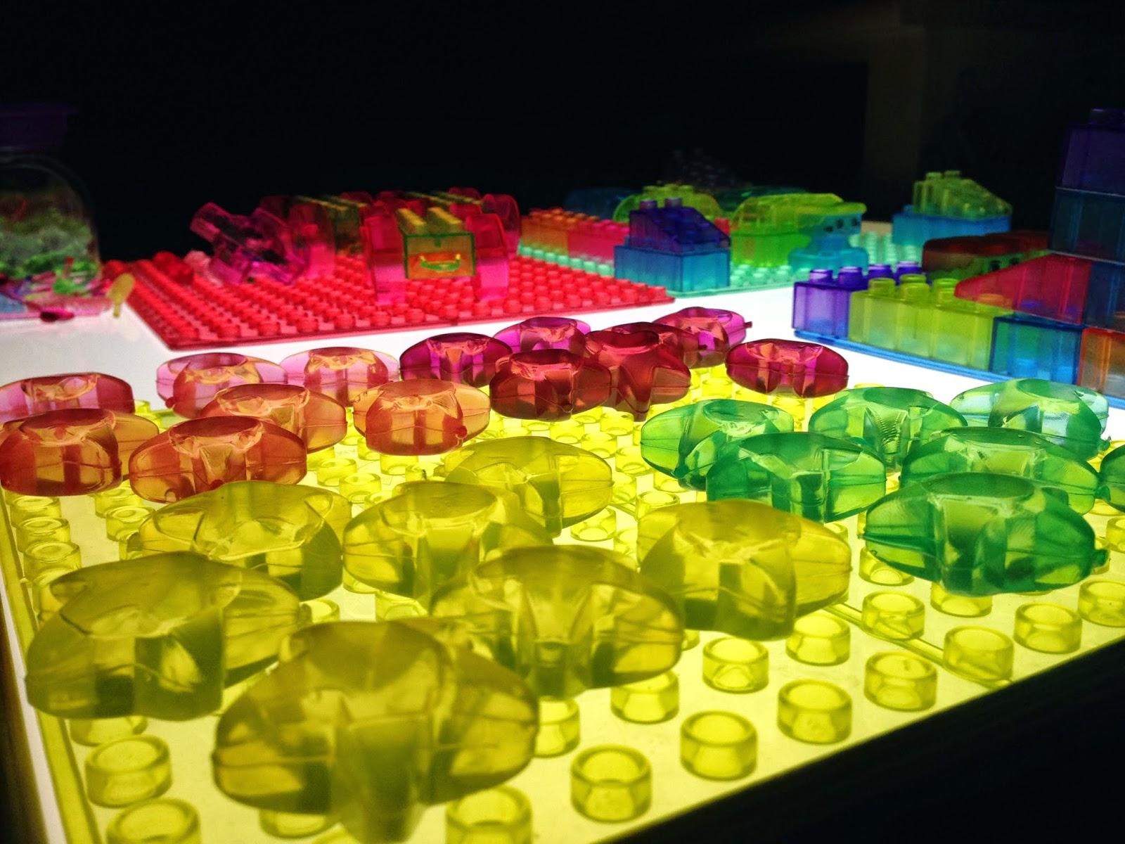 lego on the light table prism bricks