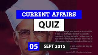 Current Affairs Quiz 5 September 2015