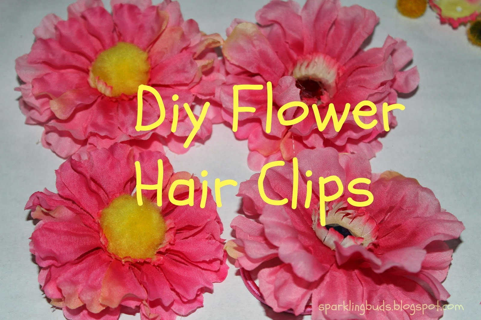 Diy flower hair clips sparklingbuds hi everyonewe enjoyed creating our own flower hair clips this fun diy project is simple that my seven year old did it by herself mightylinksfo