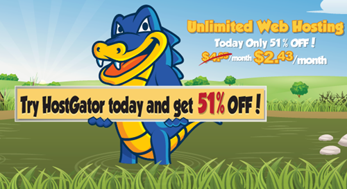 HostGator: 51% Off All Hosting Packages (May 29 Only)