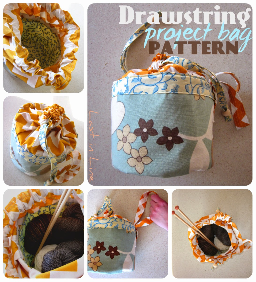 Last in Line Shop: Drawstring Project Bag Sewing Pattern