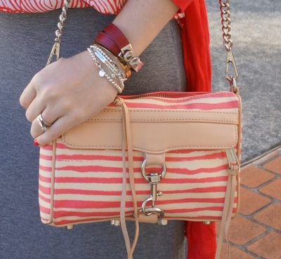 Rebecca Minkoff striped coated canvas mini MAC Hermes tiffany Disney Couture bracelet stack