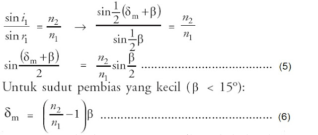 persamaan sudut deviasi pembias minimum prisma
